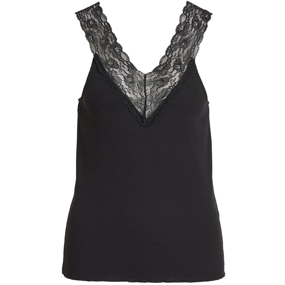 visofi v-neck s/l top 14053965 vila top black/w. black