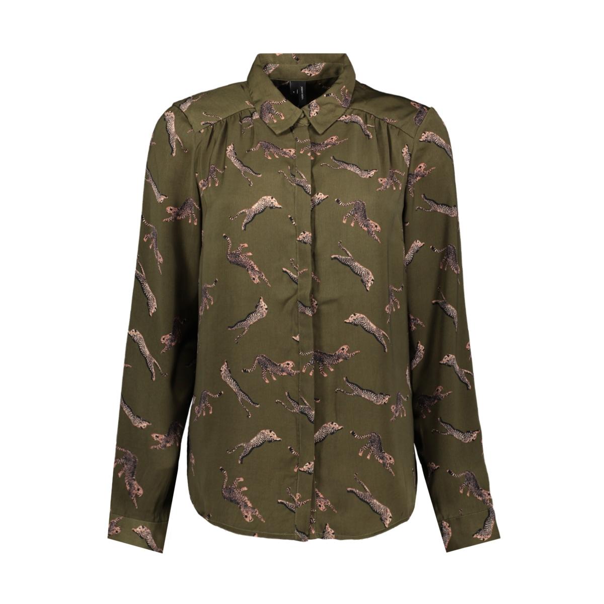vmlizzy animal l/s shirt exp 10224642 vero moda blouse ivy green/tiger