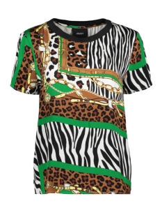 Object T-shirt OBJTATIANA S/S TOP 105 23031253 Brown Patina/BLACK