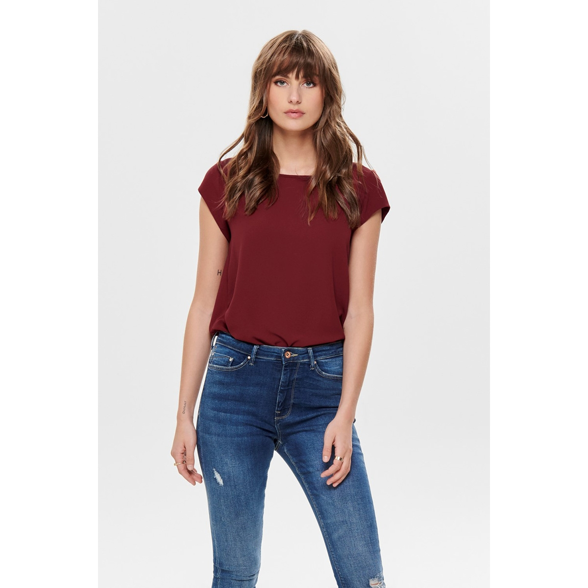 onlvic s/s solid top noos wvn 15142784 only t-shirt merlot