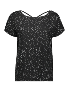 objclarissa s/s top 103 23029806 object t-shirt black/w. white dots