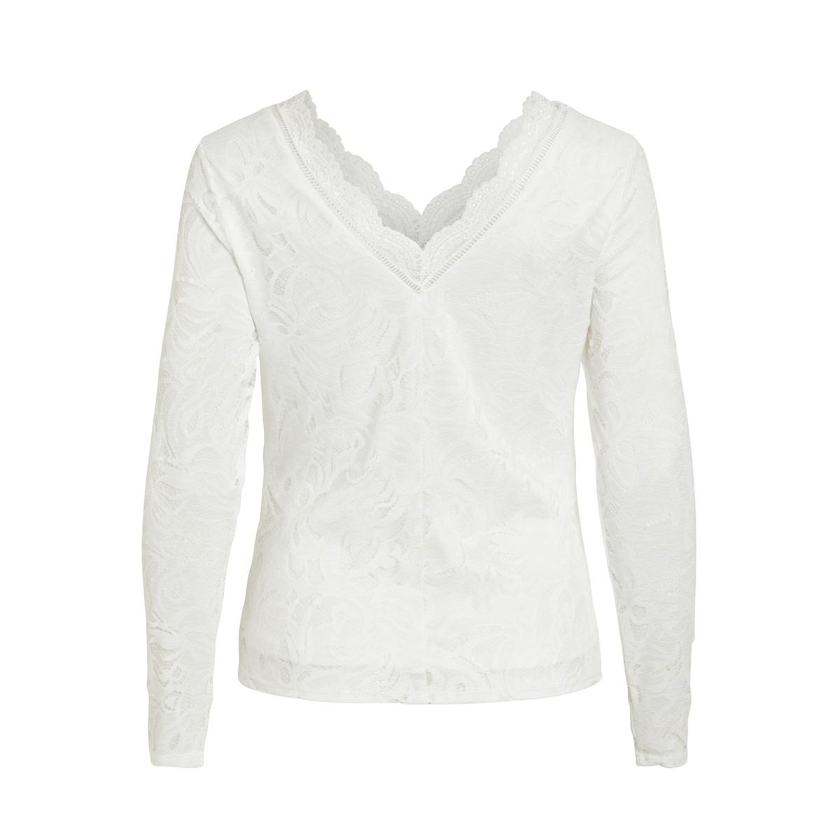 vistasia v-neck lace top-fav nx 14053487 vila t-shirt snow white