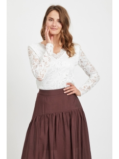 vistasia v-neck lace top-fav nx 14053487 vila t-shirt snow white
