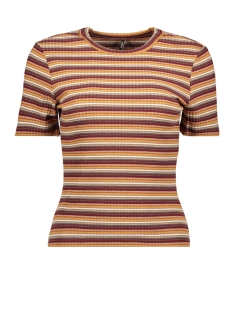 Only T-shirt ONLNELLA S/S SHORT TOP JRS 15193393 Beech/MULTICOLOR