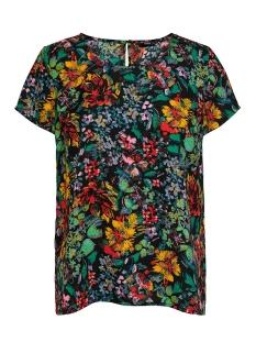 Only T-shirt ONLREIGN S/S FIRST TOP WVN 15198135 Black/FLOWER