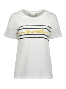 Noisy may T-shirt NMCOMMAND S/S PRINT TOP 5 27008142 Bright White/GEEL