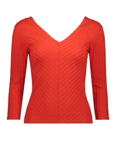 Only T-shirt ONLGINA 3/4 V-NECK TOP JRS 15186174 Fiery Red