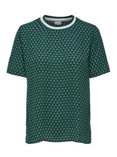 Jacqueline de Yong T-shirt JDYZOEY TREATS S/S RIB TOP WVN 15181127 Bottle Green/GREEN GRAP