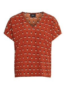 Object T-shirt OBJRORY MARI S/S TOP 105 I. DIV 23031621 Brown Patina/AOP