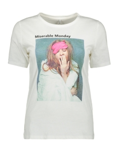 Only T-shirt ONLWEEKDAY REG S/S PHOTO TOP BOX CO 15188444 Bright White/MON.