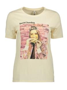 Only T-shirt ONLWEEKDAY REG S/S PHOTO TOP BOX CO 15188444 Crème Brûlée/SUN.
