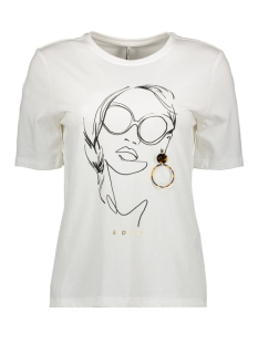 Only T-shirt ONLSANDY BOXY S/S PRINT TOP BOX CO 15189592 Bright White/EDGY