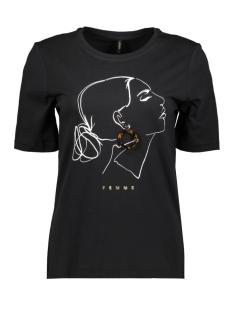 Only T-shirt ONLSANDY BOXY S/S PRINT TOP BOX CO 15189592 Black/FEMME