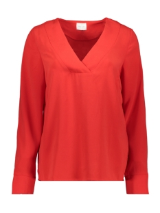 vilaia l/s v-neck top - noos 14053269 vila blouse racing red