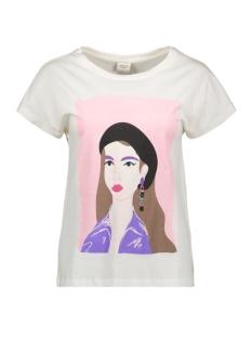Jacqueline de Yong T-shirt JDYGOSSIP S/S  PRINT TOP JRS 15184334 Cloud Dancer/RETRO ROZE