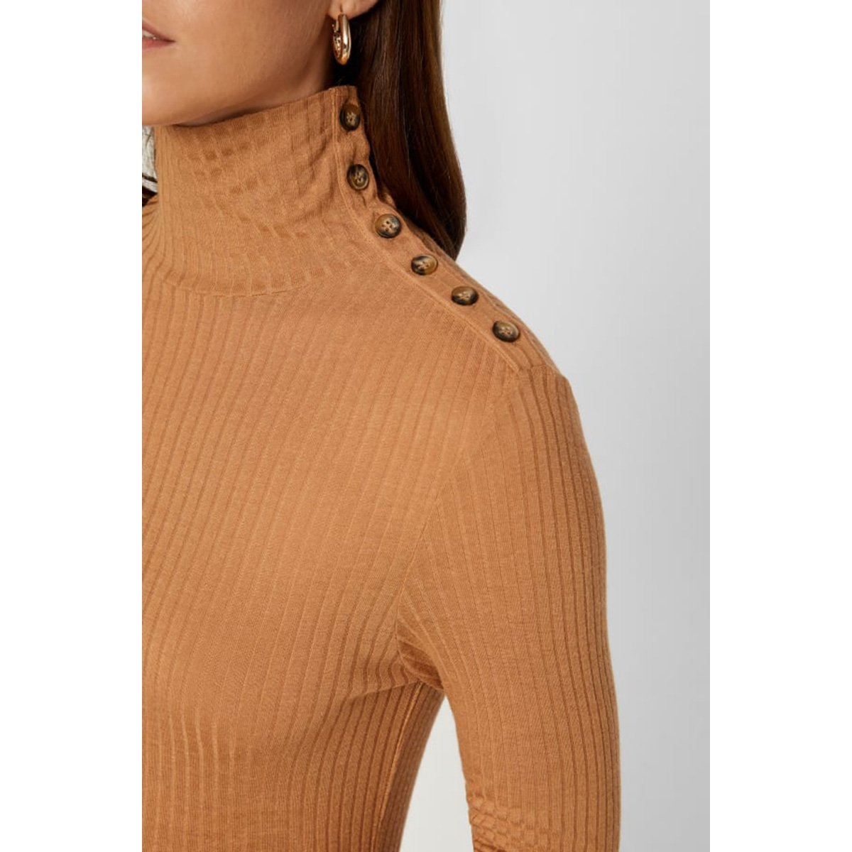 vmcarla ls turtleneck vmc 10216119 vero moda trui tobacco brown