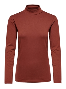 Jacqueline de Yong T-shirt JDYAVA L/S TURTLENECK TOP JRS NOOS 15165633 Russet Brown