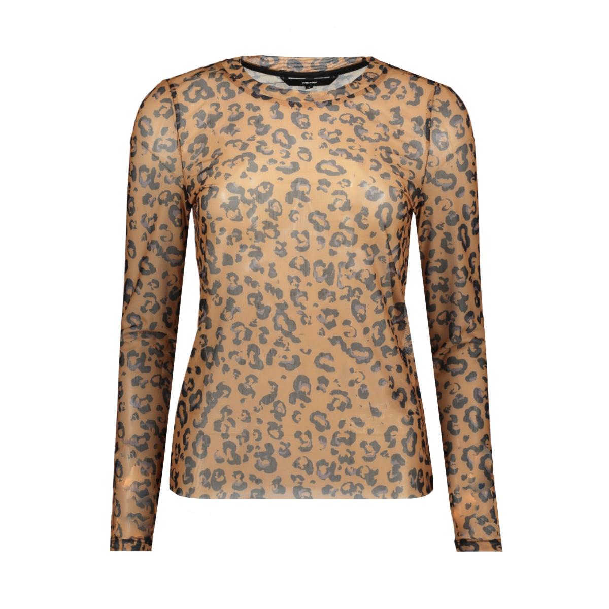 vmmaya mesh l/s top vo 10218905 vero moda t-shirt tobacco brown/ annie