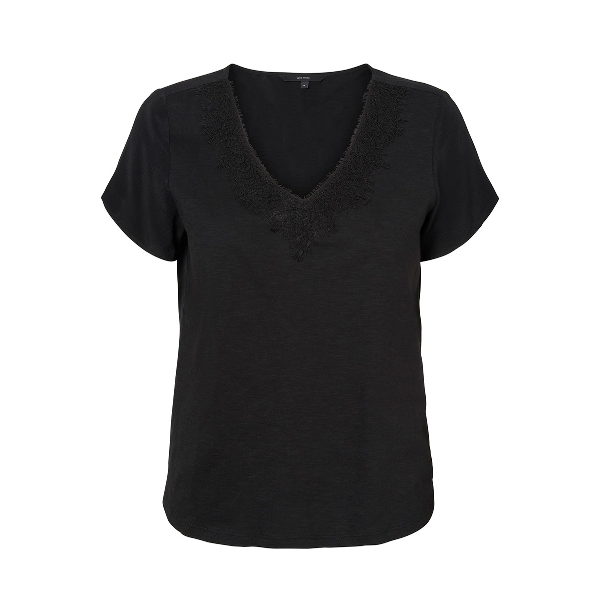 vmvelma s/s woven mix top sb5 10221449 vero moda t-shirt black