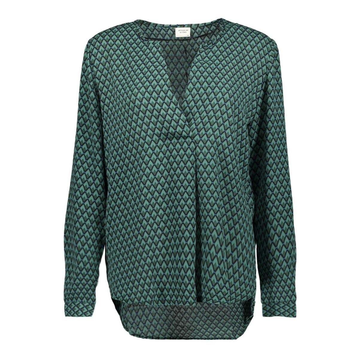jdyzoey treats l/s v-neck blouse wv 15181124 jacqueline de yong blouse bottle green/green grap
