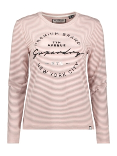 Superdry T-shirt STRIPE LS GRAPHIC TOP W6000004A PINK STRIPE