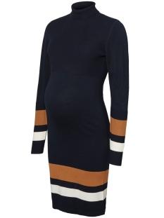 Mama-Licious Positie jurk MLJENSA L/S KNIT ROLLNECK ABK DRESS 20010252 Salute/salute wit