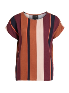 Object T-shirt OBJESME URBAN S/S TOP 105 DIV 23031599 Brown Patina/STRIPED