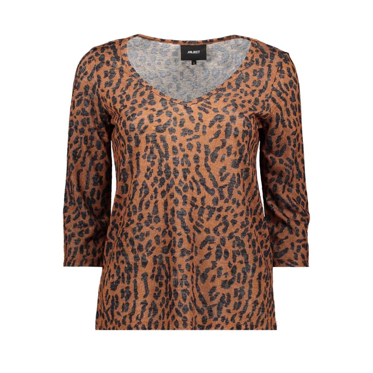 objtessi slub 3/4 top aop seasonal 23030425 object t-shirt brown patina/black