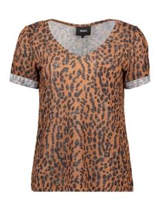 objtessi slub s/s v-neck aop season 23029730 object t-shirt brown patina/black