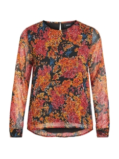 Object Blouse OBJELVA L/S TOP 106 DIV 23031913 Black/AUTUMN FLOWER