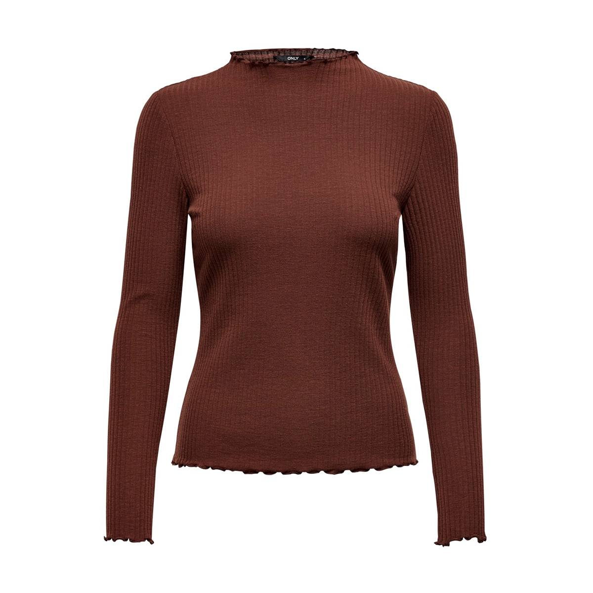 onlemma l/s high neck top noos jrs 15180040 only t-shirt cherry mahogany