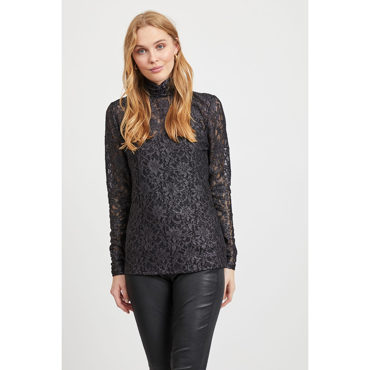 vivistin l/s top/ki 14054547 vila blouse black/w. silver