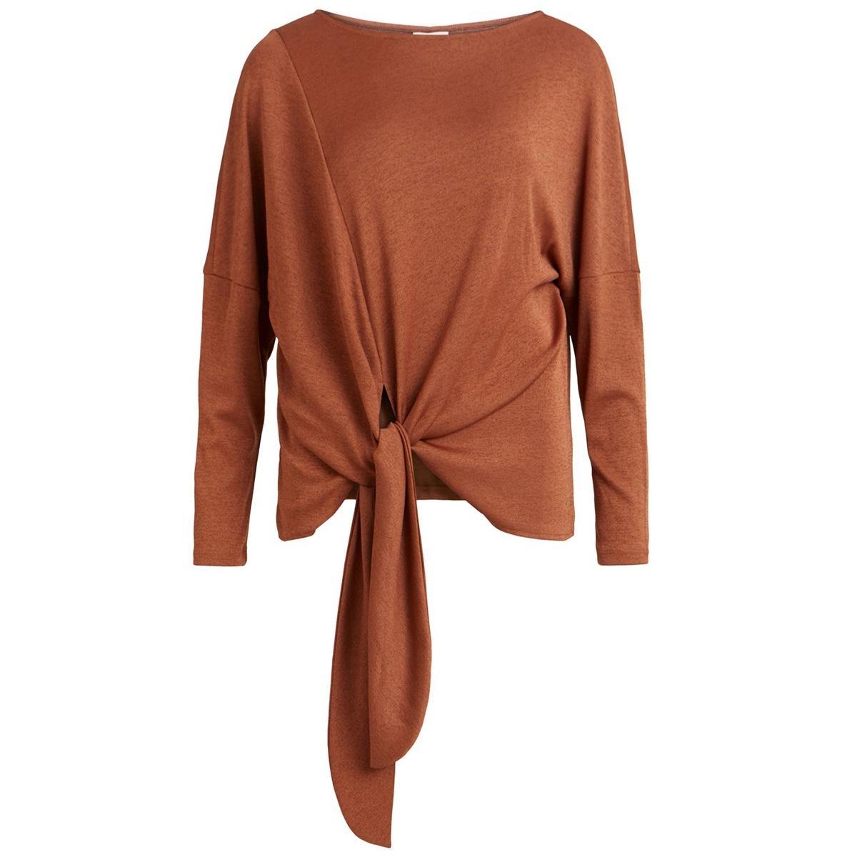 vinamina l/s t-shirt/l 14057223 vila t-shirt caramel café