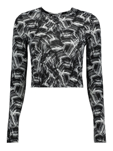 Noisy may T-shirt NMFESTIVE L/S TOP 7 27009175 Black/PAINT
