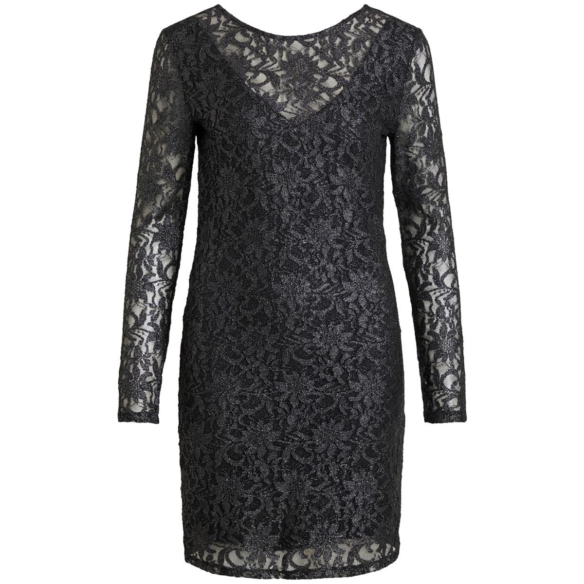 vivistin l/s dress/ki 14054549 vila jurk black/w. silver