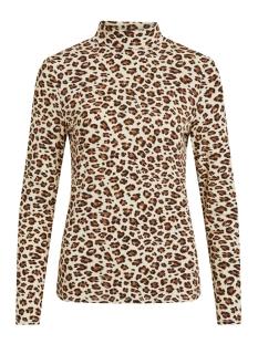 Vila T-shirt VIBULIS ANIMALA FUNNEL NECK L/S T-S 14054491 Sandshell/W . ANIMALA