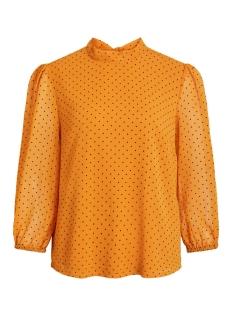 vibowlys 3/4 top 14054021 vila blouse golden oak/black dots
