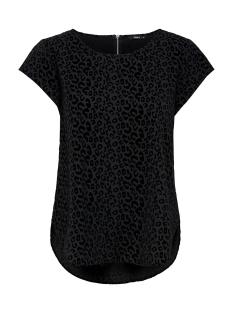 onlvic s/s detail top noos wvn 15166425 only t-shirt black/flock