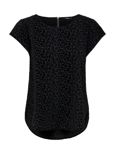 Only Blouse ONLVIC S/S DETAIL TOP NOOS WVN 15166425 Black/FLOCK