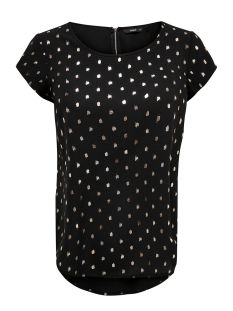 Only Blouse ONLVIC S/S DETAIL TOP NOOS WVN 15166425 Black/SILVER DOT
