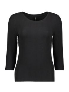 Only T-shirt ONLELINA 3/4 BUTTON JRS 15189356 Black