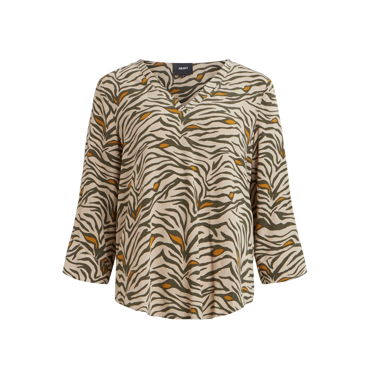 objbay 3/4 top aop seasonal 23028469 object blouse humus