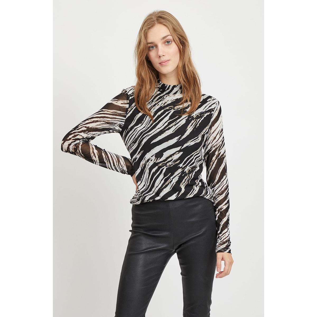vimesha l/s top 14056668 vila t-shirt black/zebra