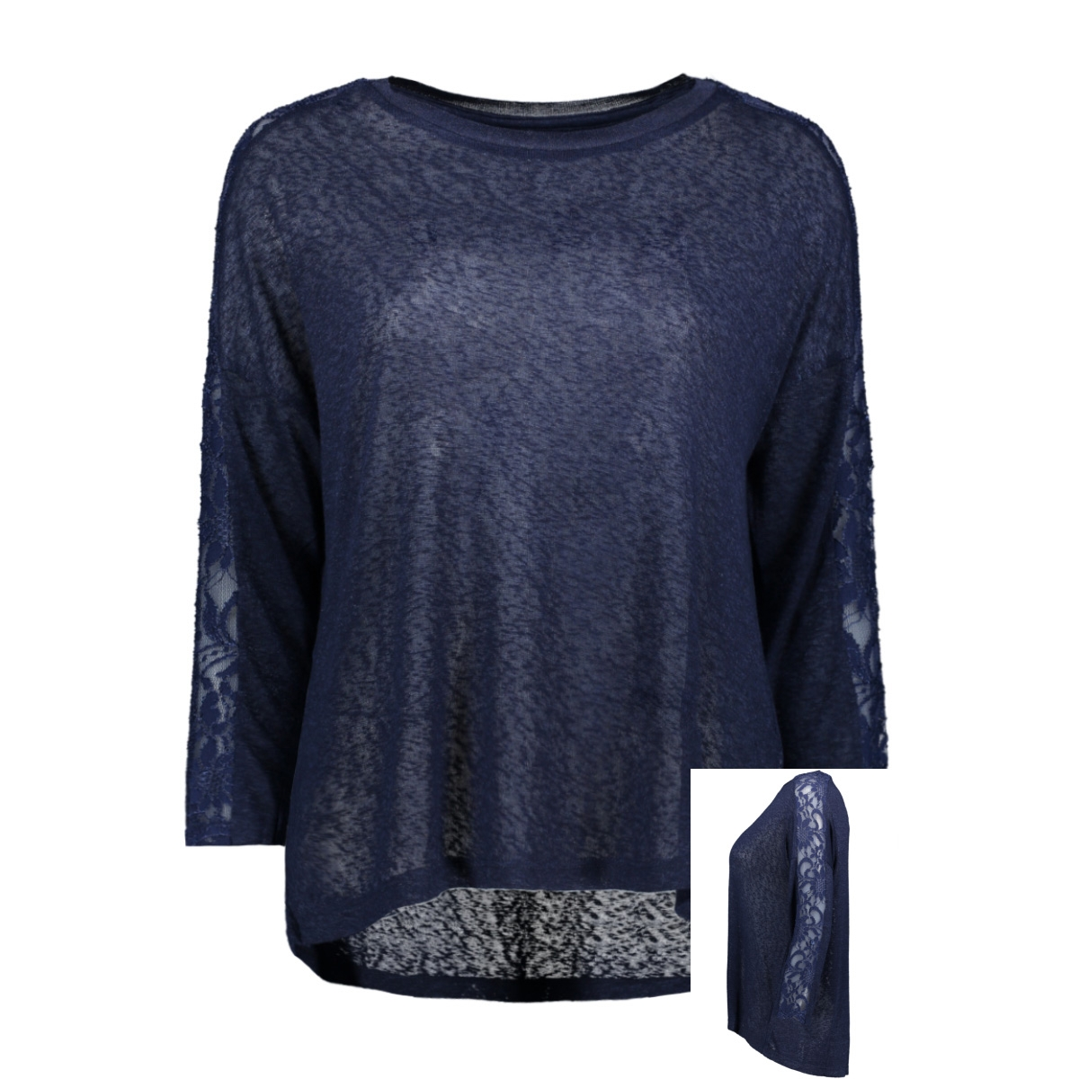 onlrie 3/4 lace top jrs 15189621 only t-shirt peacoat