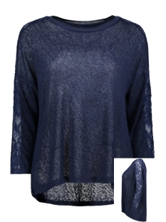 Only T-shirt ONLRIE 3/4 LACE TOP JRS 15189621 Peacoat