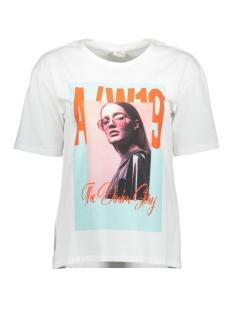 Jacqueline de Yong T-shirt JDYFEMME S/S PRINT TOP 1019 JRS 15194988 Bright White/AW 19