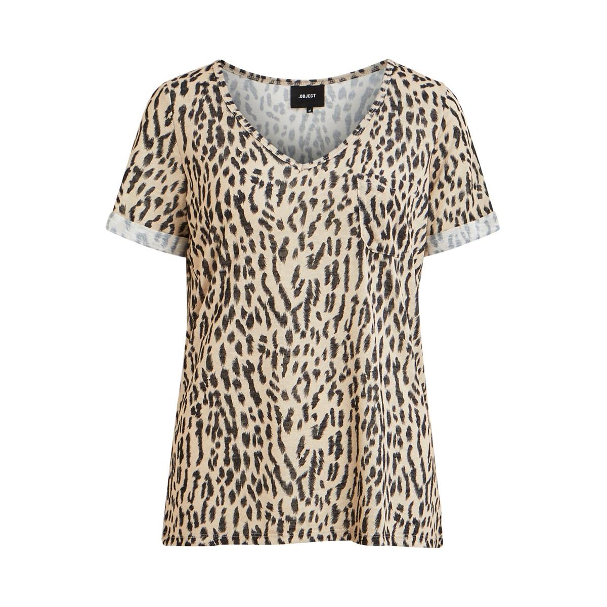 objtessi slub s/s v-neck aop season 23029730 object t-shirt humus/animal