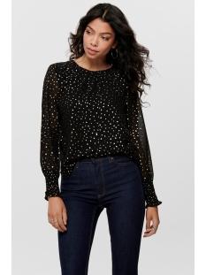 onldot  l/s top wvn 15194000 only blouse black/w. foil dots