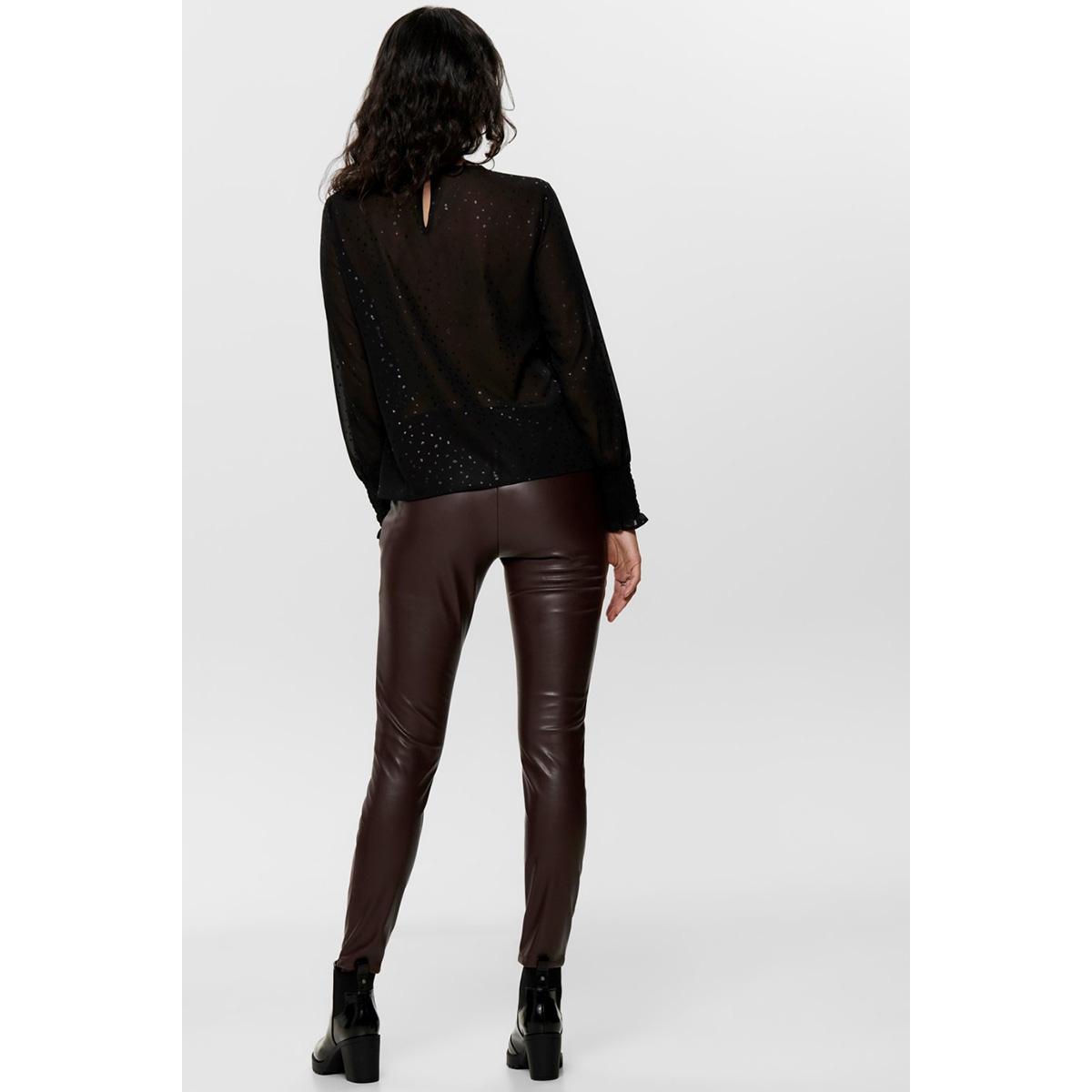 onldot  l/s top wvn 15194000 only blouse black/w. black foil
