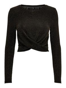onlqueen l/s glitter twist top jrs 15189964 only t-shirt black/gold lurex